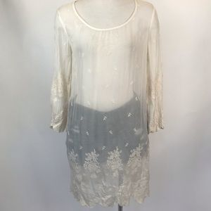 Tops - Size M cream long sleeve sheer lace tunic